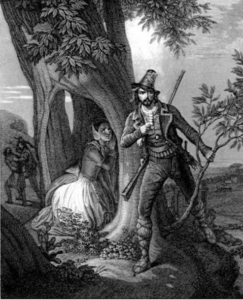 la leggenda dell'albero del brigante in una vecchia stampa